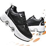 CWZY Patines de rodillos para exteriores para niños, 2 en 1, zapatos multiusos para niños y niñas, zapatos de Parkour que se convierten en patines de ruedas