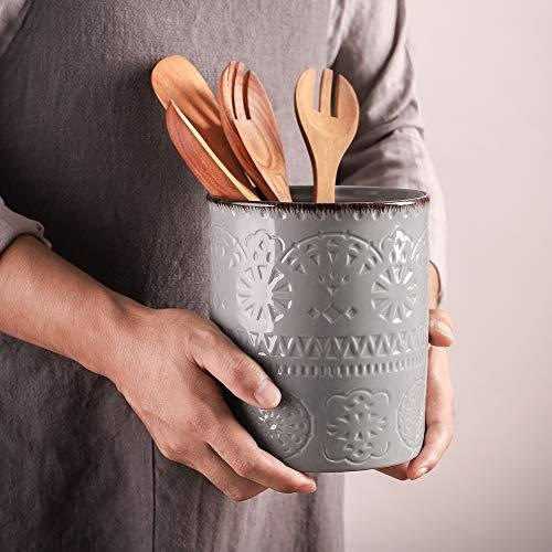 """DOWAN Kitchen Utensil Holder, 7.2"""" Large Utensil Holders for Countertop, Heavy Ceramic Utensil Crock, Anti Slip"""