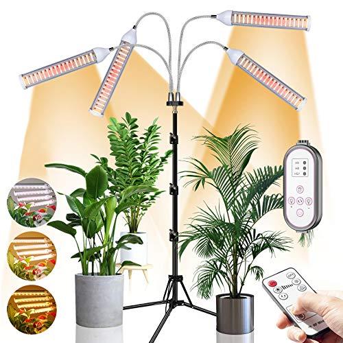 CXhome 432 LEDs Lamparas LED Cultivo Lámparas de Plantas de Espectro Completo Grow Light con Soporte Ajustable de 15-58 pulgadas Temporizador 9 Niveles de Brillo Controlador de RF