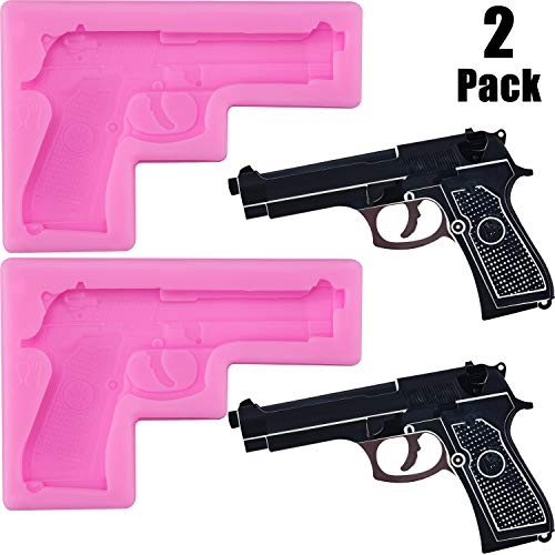 2 Pieces Gun Silicone Molds Pistol Shaped Silicone Baking Molds DIY Candy Chocolate Fondant Molds for Making Sugar, Cake, Chocolate, Candy, Desserts