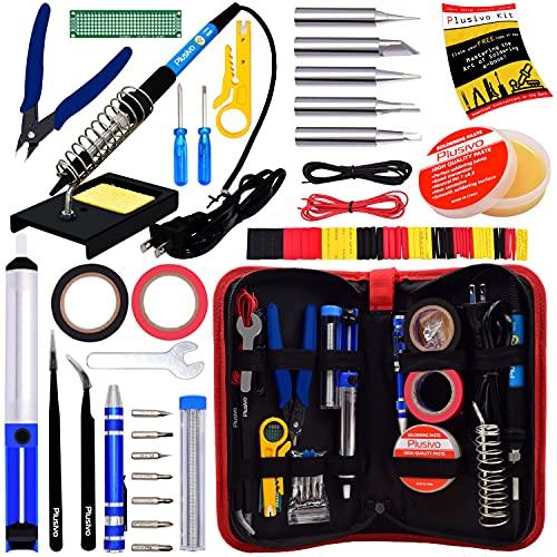 Soldering Iron Kit - Soldering Iron 60W Adjustable Temperature, Solder Wire, Soldering Stand, Wire Cutter, Solder Tips, Desoldering Pump, Tweezers, Solder Paste, Heatshrink Tubes from Plusivo