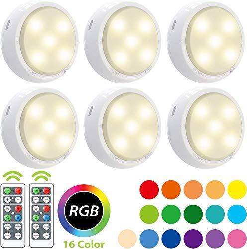 RGB 6er Schrankbeleuchtung Led Nachtlicht mit Fernbedienung,OxyLED Treppen Licht Unterbauleuchten Schrankleuchte Batteriebetrieben 4 Dimmstufen 16 Auto Farben 3 Lichtmodi Timer Schrank Lichter