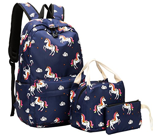 School Backpack for Girls Cute Bookbag Laptop SchoolBag with Lunch tote for Teens Boys Kids Waterproof travel Daypack (Navy blue)