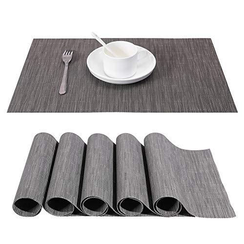 Tischset, Platzsets 6er Set - Rutschfest Abwaschbar Tischsets - PVC Hitzebeständig Platzdeckchen - Kommt mit Passendem Tischläufer und Untersetzer - Platz-Matten für Küche and Restaurant(Grau)