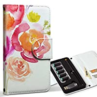 スマコレ ploom TECH プルームテック 専用 レザーケース 手帳型 タバコ ケース カバー 合皮 ケース カバー 収納 プルームケース デザイン 革 フラワー 水彩 赤 ピンク 009487