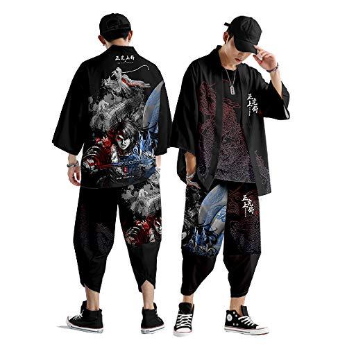 Conjunto Chaqueta Kimono para Hombre,Pantalones Harem Japoneses de Talla Grande,Moda de Primavera y Verano Streetwear,Capa con Estampado Dragón S-6XL,Black-Xlarge
