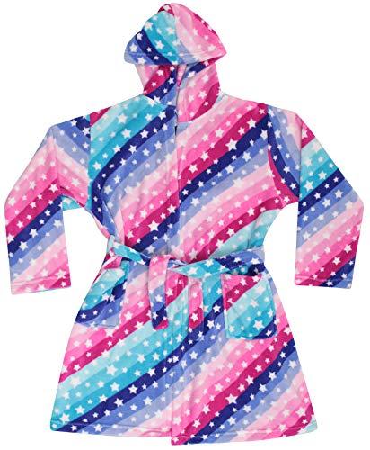Just Love Bata de forro polar con capucha para niñas, Diagnol Stripe Stars, 14-16