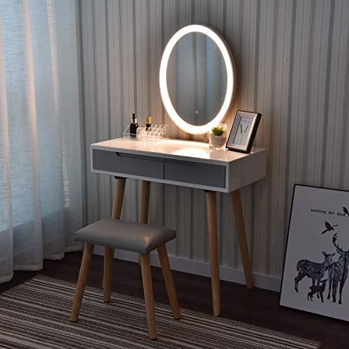 eklipt - Tocador de Maquillaje, Espejo de Mesa de cosméticos Vanity tocador, Mueble de Maquillaje de Dormitorio, con Taburete con Espejo LED, Blanco, 2 cajones, Espejo Ovalado