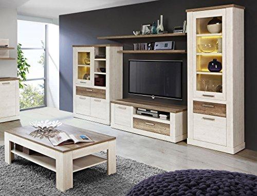 expendio Wohnzimmer Durio 31 Pinie weiß 6-teilig Wohnwand Couchtisch Sideboard Wandregal mit Beleuchtung