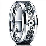 King Will Mens 8mm Tungsten Carbide Ring Silver Gearwheel Black Carbon Fiber Inlay Wedding Band 8
