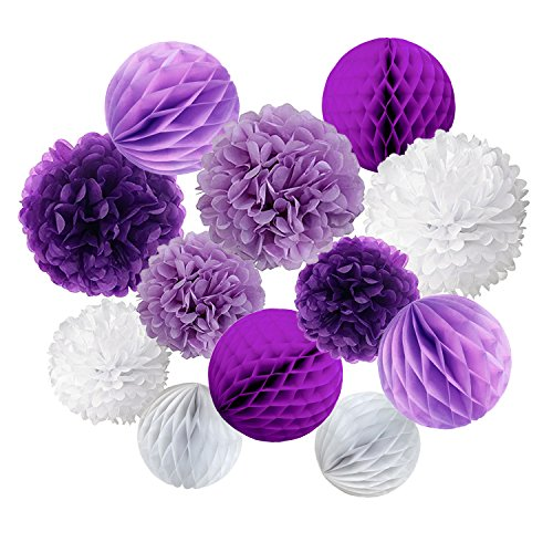 Cocodeko Tissue Paper Pompoms and Honeycomb Balls for Birthday Party Wedding Baby Shower Bridal Shower Festival Decorations - Purple, Lavender and White