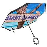 Sombrilla Invertida de Doble Capa con Mango en Forma de C, sombrillas Unisex con protección UV a Prueba de Viento-Islas Canarias Vacaciones de Verano Playa