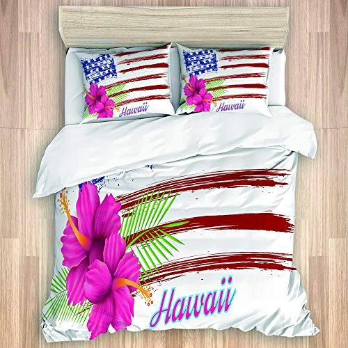 993 CCOVN Bettwäsche Set,Hawaii Flaggenrosa Hibiskus blüht auf Schmutz USA Flagge,1 Bettbezug 220x240cm+2 Kopfkissenbezug 50x80cm