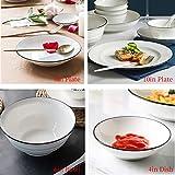 CSYY Geschirr Set aus Steingut, 30 teilig, Geschirrservice für 6 Personen, Teller-Set aus Porzellan, Premium Runde Geschirrset mit Schüsseln, Essteller,Dipschalen, Essstäbchen,Weiß - 5