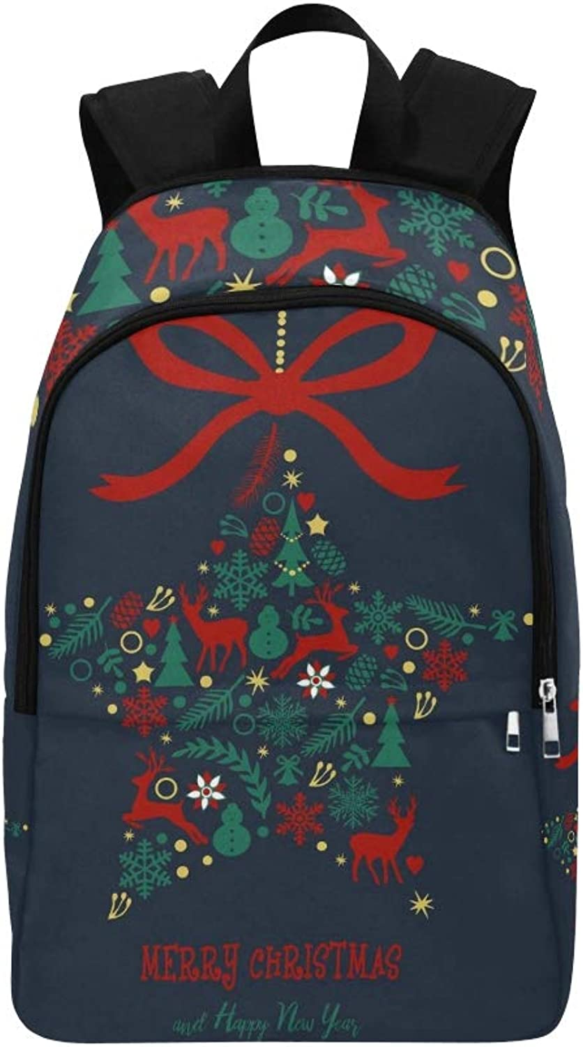 Christmas Ornament Decorative Christmas Elements Casual Daypack Travel Bag College School Backpack for Mens and Women
