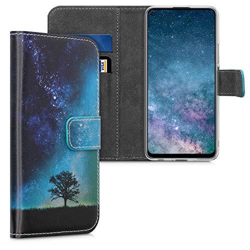 kwmobile Wallet Hülle kompatibel mit Huawei P40 Lite 5G - Hülle mit Ständer Kartenfächer Galaxie Baum Wiese Blau Grau Schwarz