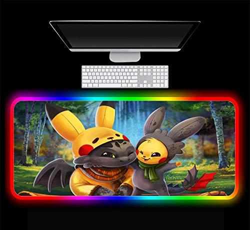 Pokémon et Dragon Tapis de Souris de Jeu RVB Mignon Grand éclairage LED Tapis de Bureau Tapis de Clavier XXL, F 600x300x4 mm