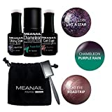 Set aus 3 semipermanenten Nagellacken 10ml + 1 Magnet - Farben : Shiny Star Like a Star, Chameleon Purple Rain, Cat Eye 3D Road Trip