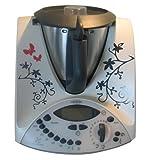 Grafix Ranke VS - Pegatinas de vinilo para Thermomix TM31, diseño de mariposas y flores, color negro y rojo