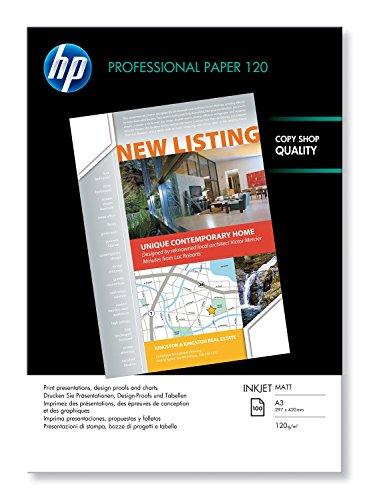 HP Professional Inkjet-Papier matt (beidseitig beschichtet) 120g/m2 A3 100 Blatt, weiß