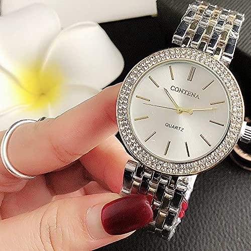 Msltely New Ladies Watches Top Marca Lujo Diamante Reloj Rosa Oro Reloj de Pulsera Dropship Relogio Feminino (Color : 4 Just Watch)