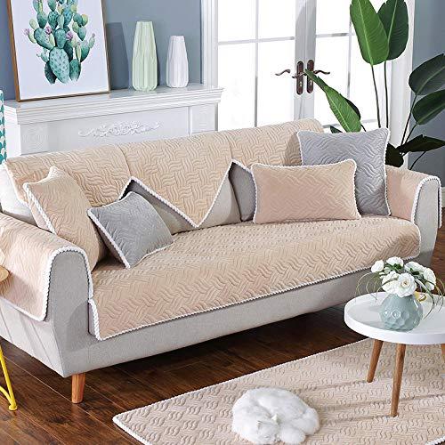 Ginsenget Sofá 1 Pieza Fundas sofá Funda sillón/Funda Almohada Protectora (Tamaño Seleccionable),Cojín de Toalla de sofá de Terciopelo de Cristal,Beige,70 * 240 cm