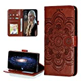 COTDINFOR Compatible with Galaxy S20 Fe Custodia Lucky Embossed Flower Shockproof PU Leather Card Holder Magnetic Lock Phone Cover per Samsung Galaxy S20 Fe Brown Mandala LD.