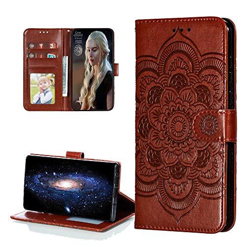 COTDINFOR Hülle for Huawei Honor 9X Lite Hülle Flip Cover PU Leder Schutzhülle Magnet Handytasche Bookstyle Kartenfächer Lederhülle Handyhülle für Honor 9X Lite Hülle Brown Mandala LD.