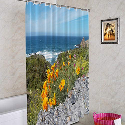 Batmerry Ocean California Decorative Shower Curtain, Poppies Ocean Big California Coast Orange Poppy Cute Long Wide with Rust Proof Grommets for Bathroom Waterproof Washable