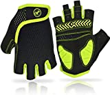 XBTCLXEBCO Cycling Gloves for Men Women Bike Gloves Half Finger with Anti-Slip Shock-Absorbing Padded Sports Cycling Riding Gloves (Yellow, M)