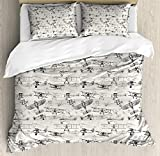 Ambesonne Airplane Duvet Cover Set, Old Fashioned Transportation Hand Drawn Style Vintage Pattern, Decorative 3 Piece Bedding Set with 2 Pillow Shams, Queen Size, Olive Green