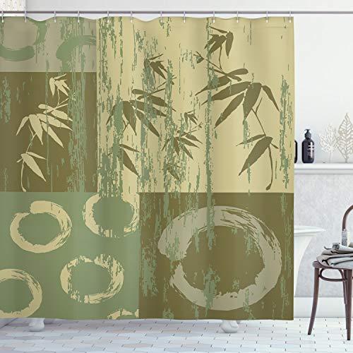 ABAKUHAUS Bambus Duschvorhang, Vintage Zen Asian Bamboo, Leicht zu pflegener Stoff mit 12 Haken Wasserdicht Farbfest Bakterie Resistent, 175 x 220 cm, Grün
