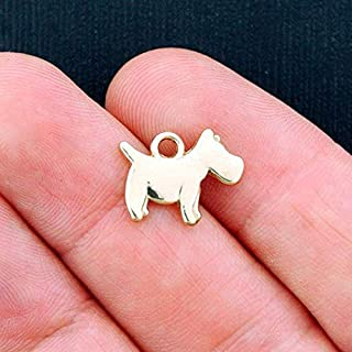 6 Dog Charms Antique Gold Tone 2 Sided Westie or Scottie Dog Vintage Crafting Pendant Jewelry Making Supplies - DIY for Necklace Bracelet Accessories by CharmingSS