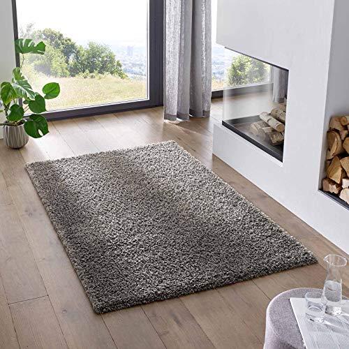 Teppich Wölkchen Shaggy-Teppich | Flauschiger Hochflor für Wohnzimmer, Kinderzimmer oder Flur Läufer | Einfarbig, Schadstoffgeprüft, Allergikergeeignet I Anthrazit - 60 x 90 cm