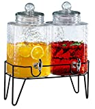 Style Setter 210266-GB 1.5 Gallon Each Glass Beverage Drink Dispensers with Metal Stand (Set of 2), 8.2 x 16.8, Clear