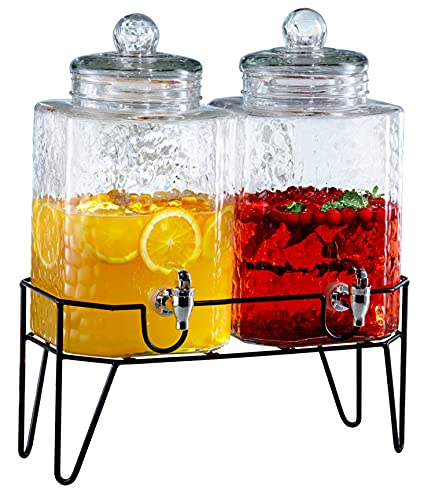 Style Setter 210266-GB 1.5 Gallon Each Glass Beverage Drink Dispensers with Metal Stand (Set of 2),...
