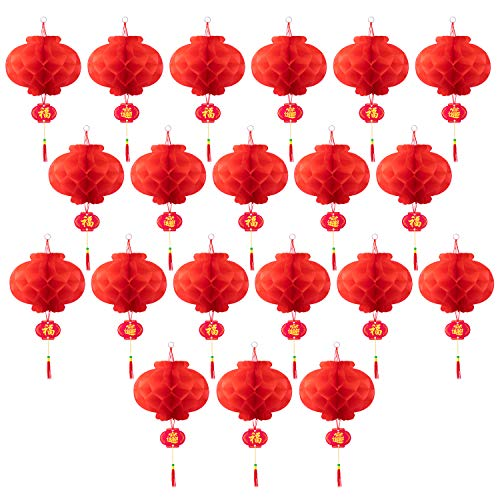 Favide 20 Pieces 10 Inch Chinese Red Paper Lanterns Festival Decorations for New Year, Spring Festival, Wedding and Restaurant