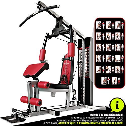 Sportstech HGX100 Multiestación musculación Premium 45en1 Sirve para innumerables Posibilidades de Entrenamiento. Máquina de Pesas Robusta con Torre de tracción