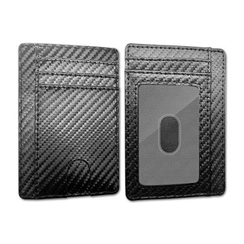 Rluobo - Cartera para hombre con bloqueo RFID RFID, de piel, con forma de cartera para hombre, mini tarjetero con compartimento para billetes, idea de regalo elegante