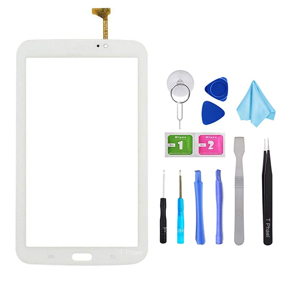 White Touch Screen Digitizer for Samsung Galaxy Tab 3 7.0 - Glass Replacement for P3210 SM-T210 T210R T210L T217S T217A (Not Include LCD,WiFi Ver.No Speaker Hole) with Tools + Pre-Installed Adhesive