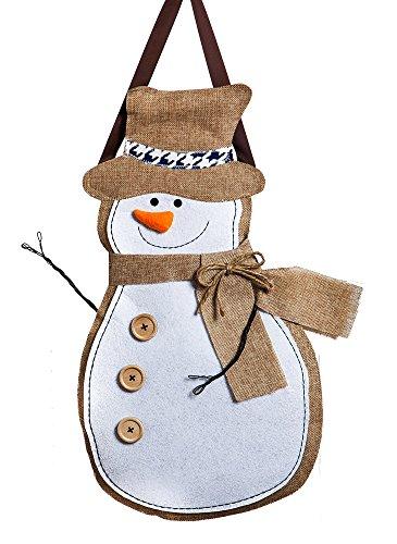 Evergreen Flag Winter Snowman Hanging Outdoor-Safe Burlap...