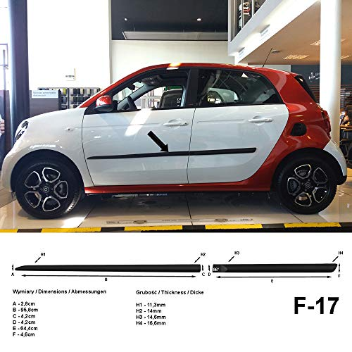 Spangenberg, bandes de protection latérales noires, compatible avec Smart ForFour II W453 berline W 453 à partir de l'année 07.2014- F17 (3700017)