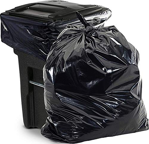 Aluf Plastics 65 Gallon Trash Bags Heavy Duty - (Huge 50 Pack) - 1.5 MIL - 50' x 48' - Large Black Plastic Garbage Can Liners for Contractor, Lawn and Leaf, Outdoor, Storage, Commercial, Industrial, Toter, Bag (PG6-6551)