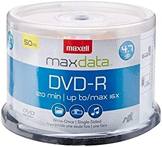 Maxell 638011 Superior Archival Life Metal Azo Dye Construction Write Once Format DVD-R 4.7 Gb Spindle 50 Disc Pack (Renewed)