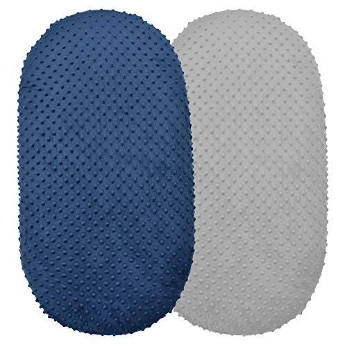 Paquete de 2 sábanas bajeras bajeras para moisés de punto, suave y elástico, para cuna, cama cambiante, funda para colchón rectangular, ovalado o de reloj de arena (azul + gris)