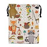engzhoushi Mochila de Cuerda,Bolsa de Cuerdas Cute Pattern with Animals of Forest Drawstring Bag Beam Mouth Yoga Bags For Men & Women