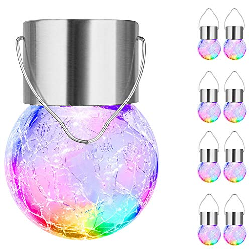 XBBLGDD Hanging Solar Ball Lights Outdoor 8 Pack Cracked Glass Decorative Garden Lights Waterproof Solar Globe Lanterns Fairy String Lights for Yard Patio Fence Tree Holiday Decoration