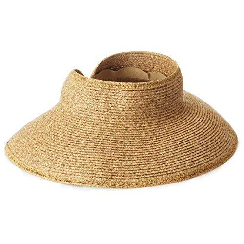 San Diego Hat Company Women's Ultrabraid Visor with Ribbon Binding, and Sweatband, cofeee, One Size