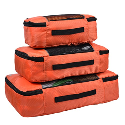 Hopsooken Packing Cubes System - 3 Pieces Sets Travel Luggage Packing Organizers (Orange)