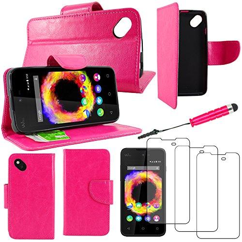 ebestStar - kompatibel mit Wiko Sunset 2 (2015) Hülle Sunny 1 (2016) Wallet Hülle Handyhülle [PU Leder], Kartenfächern Standfunktion +Mini Stift +3 Schutzfolies, Pink [Phone: 128x65.6x10.9mm 4.0